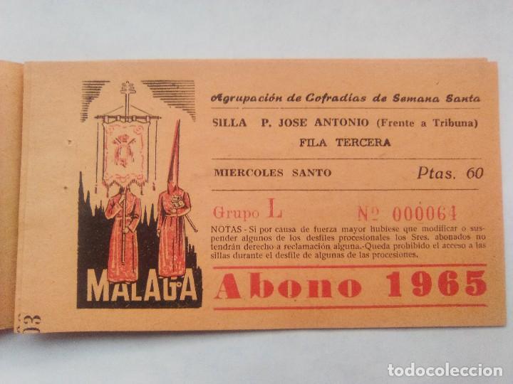 Carteles de Semana Santa: ABONO SEMANA SANTA 1965 MALAGA - AGRUPACION DE COFRADIAS - SILLA PLAZA JOSÈ ANTONIO - ENTRADA - Foto 5 - 221661972
