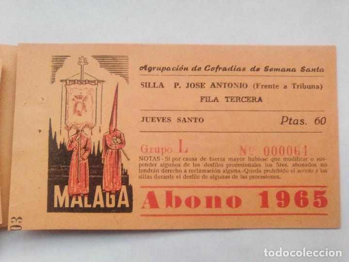 Carteles de Semana Santa: ABONO SEMANA SANTA 1965 MALAGA - AGRUPACION DE COFRADIAS - SILLA PLAZA JOSÈ ANTONIO - ENTRADA - Foto 6 - 221661972