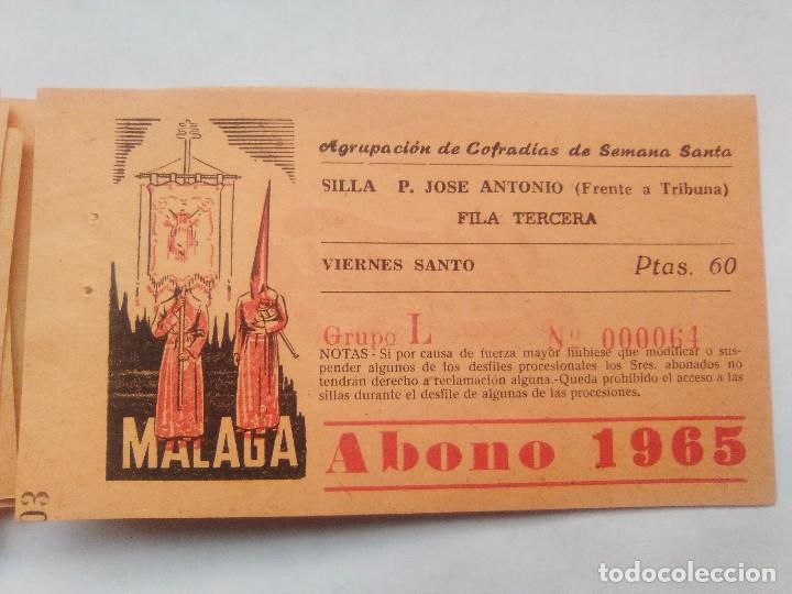 Carteles de Semana Santa: ABONO SEMANA SANTA 1965 MALAGA - AGRUPACION DE COFRADIAS - SILLA PLAZA JOSÈ ANTONIO - ENTRADA - Foto 7 - 221661972