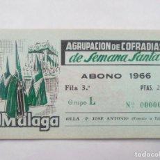 Affiches de Semaine Sainte: ABONO SEMANA SANTA 1966 MALAGA - AGRUPACION DE COFRADIAS - SILLA PLAZA JOSÈ ANTONIO - ENTRADA . Lote 116585791