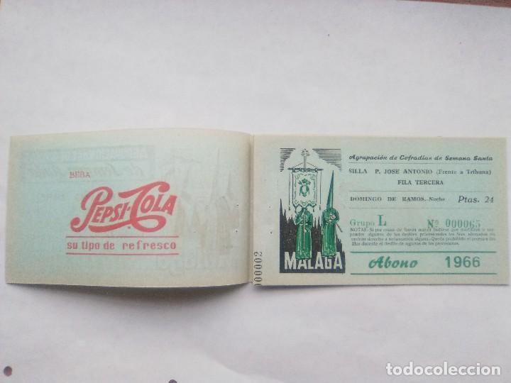 Carteles de Semana Santa: ABONO SEMANA SANTA 1966 MALAGA - AGRUPACION DE COFRADIAS - SILLA PLAZA JOSÈ ANTONIO - ENTRADA - Foto 2 - 221662007