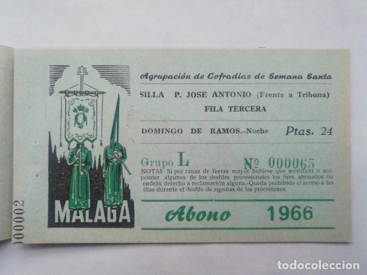 Carteles de Semana Santa: ABONO SEMANA SANTA 1966 MALAGA - AGRUPACION DE COFRADIAS - SILLA PLAZA JOSÈ ANTONIO - ENTRADA - Foto 3 - 221662007