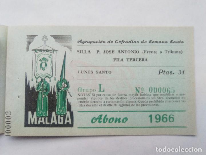 Carteles de Semana Santa: ABONO SEMANA SANTA 1966 MALAGA - AGRUPACION DE COFRADIAS - SILLA PLAZA JOSÈ ANTONIO - ENTRADA - Foto 4 - 221662007