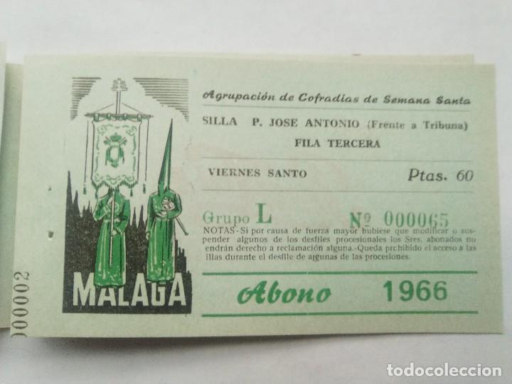 Carteles de Semana Santa: ABONO SEMANA SANTA 1966 MALAGA - AGRUPACION DE COFRADIAS - SILLA PLAZA JOSÈ ANTONIO - ENTRADA - Foto 6 - 221662007
