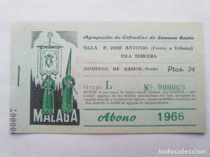 ABONO SEMANA SANTA 1966 MALAGA - AGRUPACION DE COFRADIAS - SILLA PLAZA JOSÈ ANTONIO - ENTRADA segunda mano