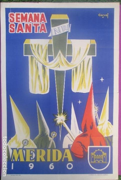 CARTEL SEMANA SANTA 1960, MERIDA, CARVAI, SS18 (Coleccionismo - Carteles Gran Formato - Carteles Semana Santa)