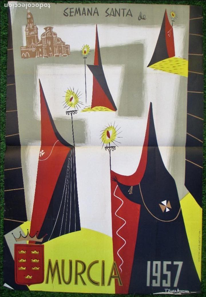 CARTEL SEMANA SANTA 1957, MURCIA, T. EGEA AZCONA,SS7 (Coleccionismo - Carteles Gran Formato - Carteles Semana Santa)