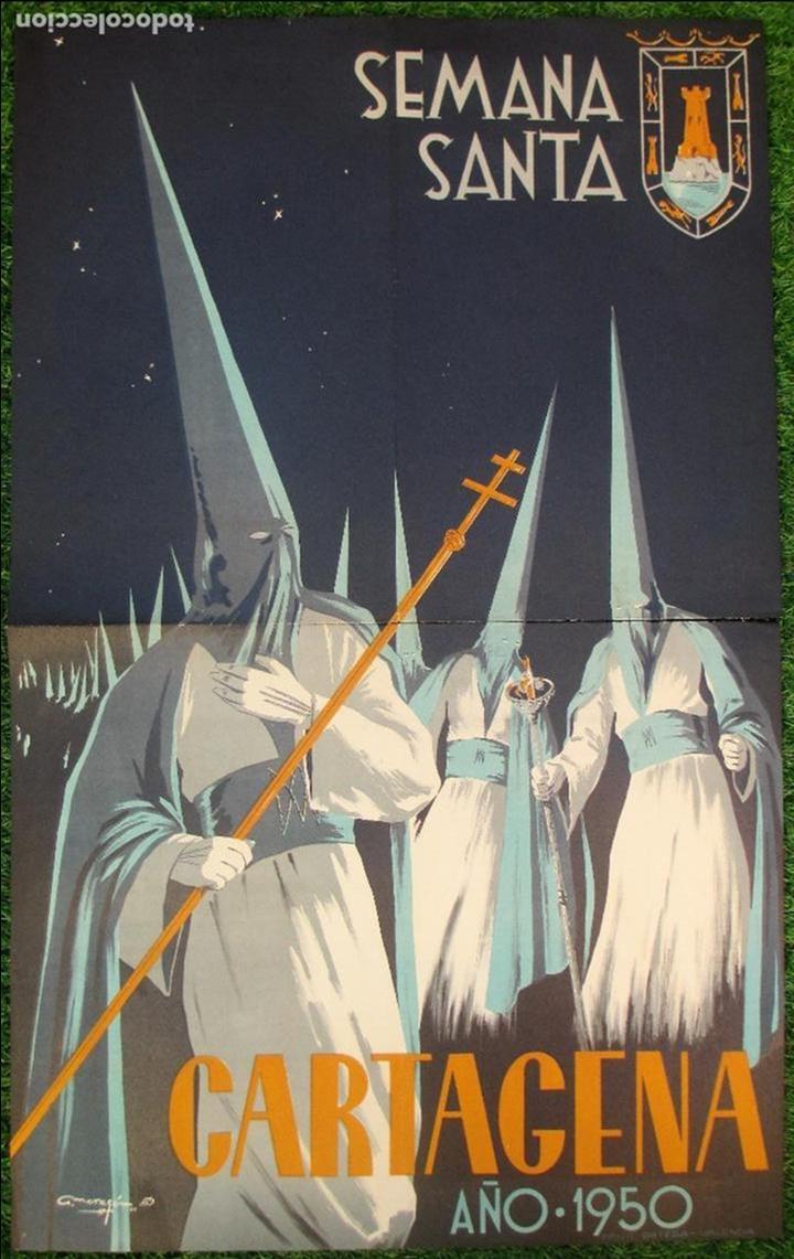 CARTEL SEMANA SANTA 1950, CARTAGENA, MURCIA, A. MORAGON, SS13 (Coleccionismo - Carteles Gran Formato - Carteles Semana Santa)