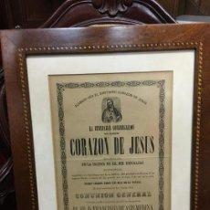 Carteles de Semana Santa: CONVOCATORIA CORAZON DE JESUS AÑO 1878 - IGLESIA LOS DESCALZOS EN CADIZ - MEDIDA MARCO 49,5X40,5 CM. Lote 119555595