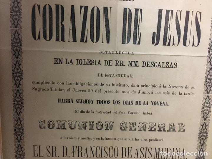Carteles de Semana Santa: CONVOCATORIA CORAZON DE JESUS AÑO 1878 - IGLESIA LOS DESCALZOS EN CADIZ - MEDIDA MARCO 49,5X40,5 CM - Foto 4 - 119555595