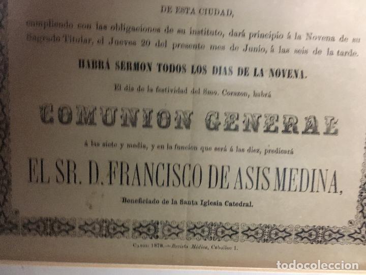 Carteles de Semana Santa: CONVOCATORIA CORAZON DE JESUS AÑO 1878 - IGLESIA LOS DESCALZOS EN CADIZ - MEDIDA MARCO 49,5X40,5 CM - Foto 5 - 119555595