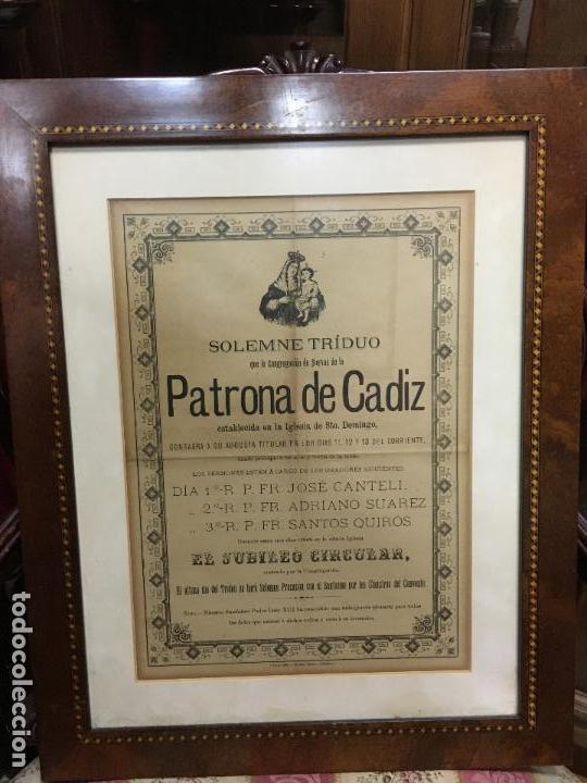 CONVOCATORIA VIRGEN DEL ROSARIO PATRONA DE CADIZ AÑO 1896 - MEDIDA MARCO 55X44 CM - RELIGIOSO (Coleccionismo - Carteles Gran Formato - Carteles Semana Santa)