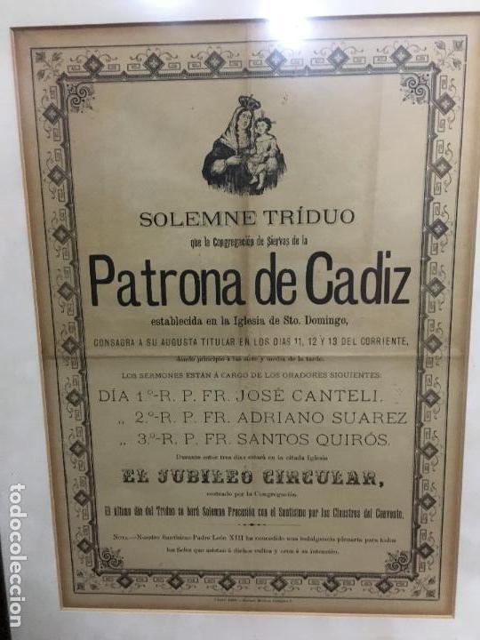 Carteles de Semana Santa: CONVOCATORIA VIRGEN DEL ROSARIO PATRONA DE CADIZ AÑO 1896 - MEDIDA MARCO 55X44 CM - RELIGIOSO - Foto 2 - 119556247