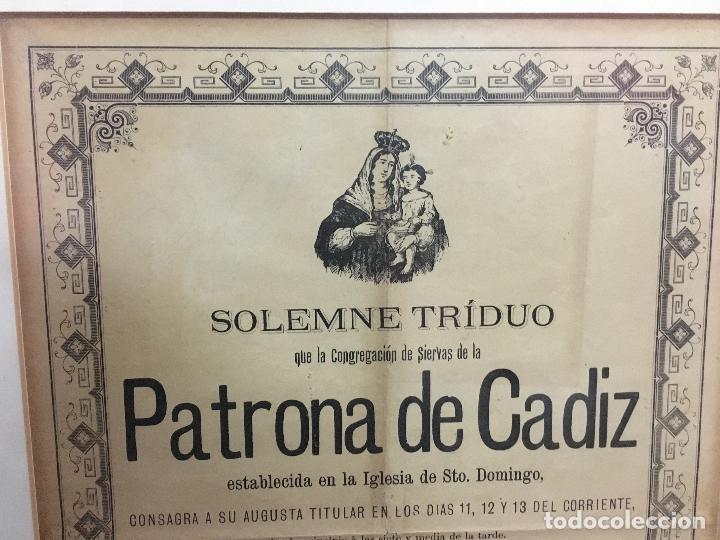 Carteles de Semana Santa: CONVOCATORIA VIRGEN DEL ROSARIO PATRONA DE CADIZ AÑO 1896 - MEDIDA MARCO 55X44 CM - RELIGIOSO - Foto 3 - 119556247