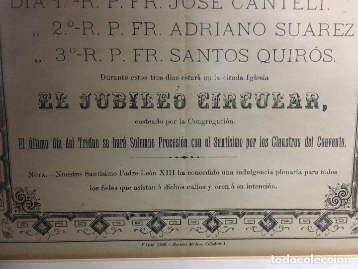 Carteles de Semana Santa: CONVOCATORIA VIRGEN DEL ROSARIO PATRONA DE CADIZ AÑO 1896 - MEDIDA MARCO 55X44 CM - RELIGIOSO - Foto 5 - 119556247