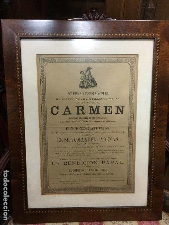 CONVOCATORIA VIRGEN DEL CARMEN CADIZ AÑO 1878 - MEDIDA MARCO 56X43,5 CM - RELIGIOSO (Coleccionismo - Carteles Gran Formato - Carteles Semana Santa)