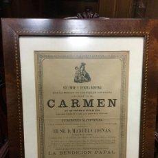 Carteles de Semana Santa: CONVOCATORIA VIRGEN DEL CARMEN CADIZ AÑO 1878 - MEDIDA MARCO 56X43,5 CM - RELIGIOSO. Lote 119556791