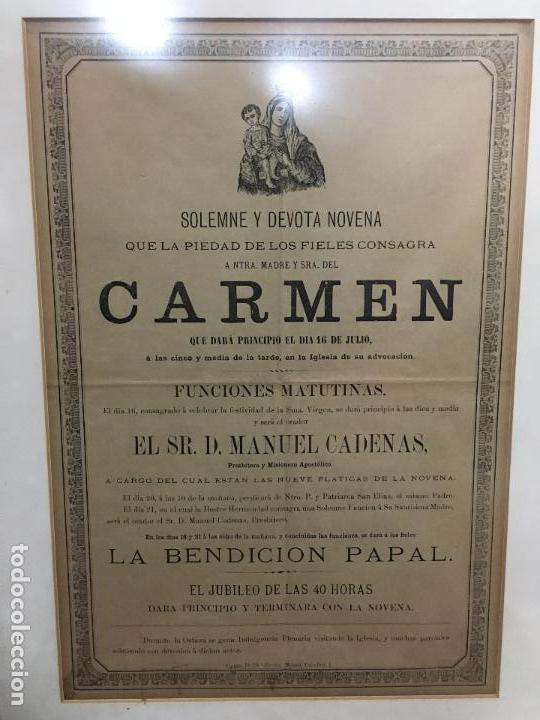 Carteles de Semana Santa: CONVOCATORIA VIRGEN DEL CARMEN CADIZ AÑO 1878 - MEDIDA MARCO 56X43,5 CM - RELIGIOSO - Foto 2 - 119556791