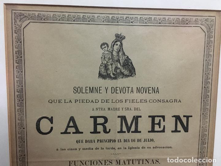 Carteles de Semana Santa: CONVOCATORIA VIRGEN DEL CARMEN CADIZ AÑO 1878 - MEDIDA MARCO 56X43,5 CM - RELIGIOSO - Foto 3 - 119556791