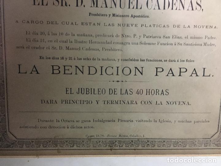 Carteles de Semana Santa: CONVOCATORIA VIRGEN DEL CARMEN CADIZ AÑO 1878 - MEDIDA MARCO 56X43,5 CM - RELIGIOSO - Foto 5 - 119556791