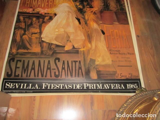 Carteles de Semana Santa: Fiestas de primavera Sevilla 1985 Semana Santa y Feria Impresionante cartel 160 X 110 cm. Cartulina - Foto 4 - 120662619