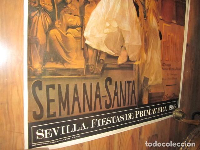 Carteles de Semana Santa: Fiestas de primavera Sevilla 1985 Semana Santa y Feria Impresionante cartel 160 X 110 cm. Cartulina - Foto 8 - 120662619