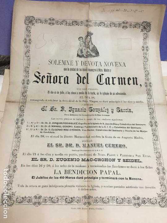 CARTEL CONVOCATORIA VIRGEN DEL CARMEN CADIZ AÑO 1890 - MEDIDA 45X32 CM (Coleccionismo - Carteles Gran Formato - Carteles Semana Santa)