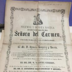 Carteles de Semana Santa: CARTEL CONVOCATORIA VIRGEN DEL CARMEN CADIZ AÑO 1890 - MEDIDA 45X32 CM. Lote 120810207