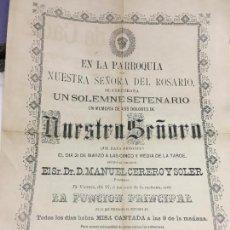 Carteles de Semana Santa: CARTEL CONVOCATORIA PARROQUIA NTRA. SEÑORA DEL ROSARIO CADIZ AÑO 1885 - MEDIDA 43X31 CM. Lote 120810375