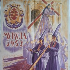 Carteles de Semana Santa: GRAN CARTEL SEMANA SANTA MURCIA 1952, ILUSTRA MUÑOZ BARBERAN, LITOGRAFIA ORTEGA, ORIGINAL. Lote 121517543