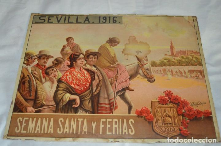 JOYA - 1916 - CARTEL DE SEMANA SANTA Y FERIAS DE SEVILLA - LITOGRAFÍA S. DURÁ VALENCIA (Coleccionismo - Carteles Gran Formato - Carteles Semana Santa)