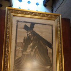 Carteles de Semana Santa: GRAN CARTEL GRABADO CRISTO DEL PAÑO SEMANA SANTA MOCLIN GRANADA MARCO MADERA DORADA LITOGRAFIA ANEL. Lote 131000252