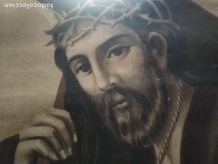 Carteles de Semana Santa: gran cartel grabado cristo del paño semana santa moclin granada marco madera dorada litografia anel - Foto 2 - 131000252