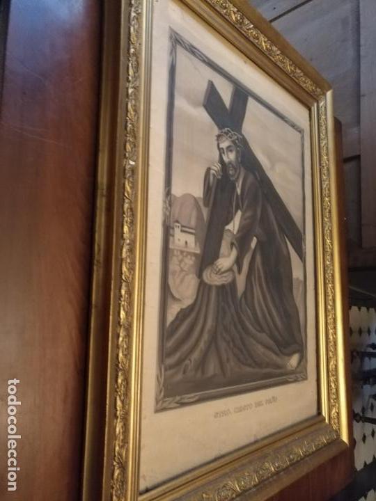 Carteles de Semana Santa: gran cartel grabado cristo del paño semana santa moclin granada marco madera dorada litografia anel - Foto 3 - 131000252