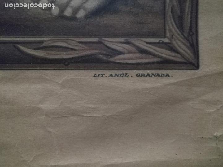 Carteles de Semana Santa: gran cartel grabado cristo del paño semana santa moclin granada marco madera dorada litografia anel - Foto 4 - 131000252