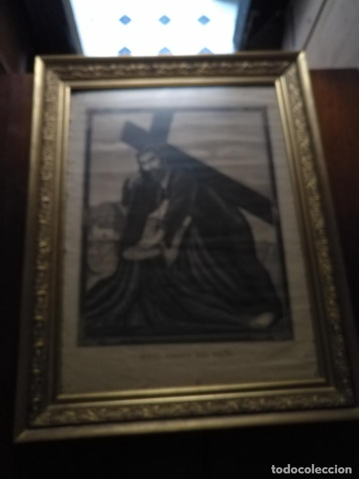 Carteles de Semana Santa: gran cartel grabado cristo del paño semana santa moclin granada marco madera dorada litografia anel - Foto 7 - 131000252