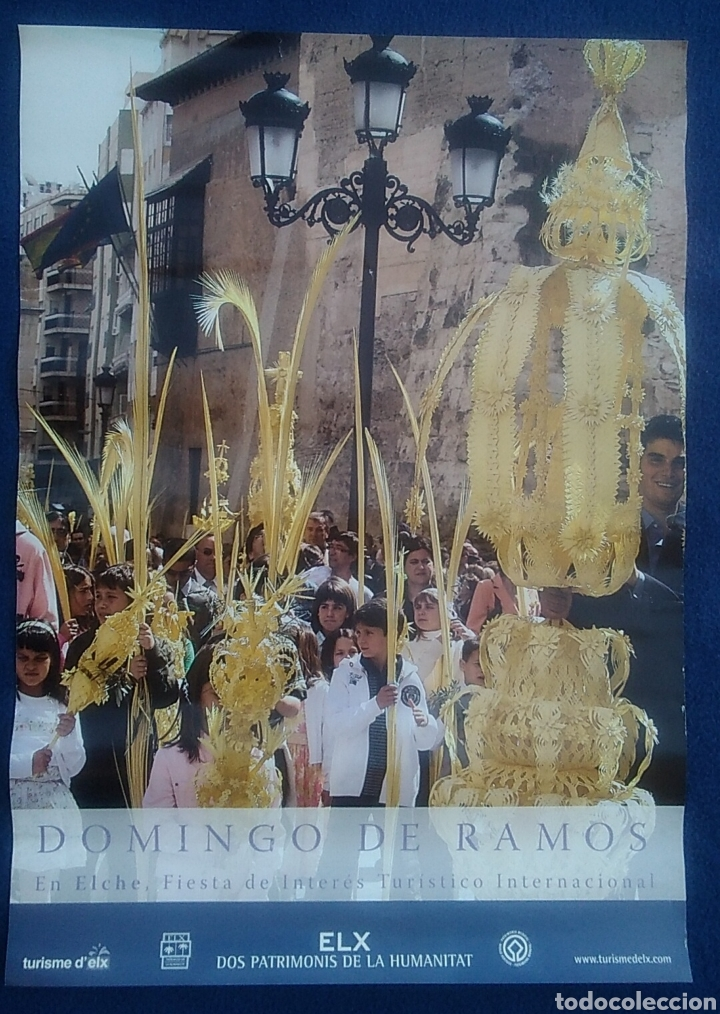 BONITO PÓSTER LÁMINA DOMINGO DE RAMOS ELCHE ELX ALICANTE SEMANA SANTA / 29 X 45 CM (Coleccionismo - Carteles Gran Formato - Carteles Semana Santa)