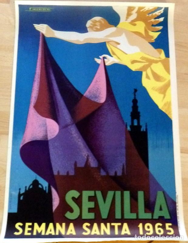 CARTEL DE LA SEMANA SANTA DE SEVILLA, 1965, 48X68CMS,ORIGINAL, REALIZADO POR MARISCAL (Coleccionismo - Carteles Gran Formato - Carteles Semana Santa)