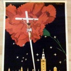 Carteles de Semana Santa: CARTEL SEMANA SANTA EN SEVILLA 1966 - 67X44CM. Lote 133703242