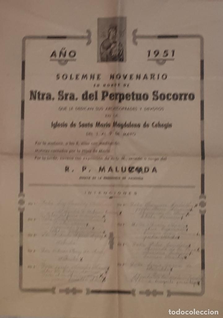 CEHEGIN CARTEL DEL NOVENARIO AL PERPETUO SOCORRO 1951 (Coleccionismo - Carteles Gran Formato - Carteles Semana Santa)