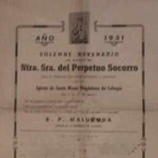 Carteles de Semana Santa: CEHEGIN CARTEL DEL NOVENARIO AL PERPETUO SOCORRO 1951. Lote 134954066