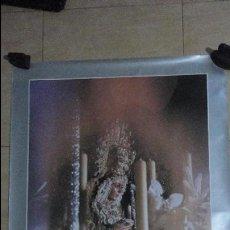 Carteles de Semana Santa: ANTIGUO CARTEL.SEMANA SANTA SEVILLA.VIRGEN MACARENA CAJA SAN FERNANDO 1985.FOTO HARETON 98 X 67,5. Lote 135538294