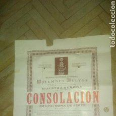 Carteles de Semana Santa: VIRGEN DE LA CONSOLACION. CARTEL GRANDE.ORIGINAL. 1945. JEREZ.. Lote 140452780