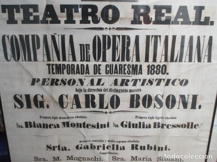 Carteles de Semana Santa: ANTIGUO CARTEL DE SEMANA SANTA. GIBRALTAR. TEATRO REAL. OPERA ITALIANA. CUARESMA 1880. 127 X 88 CM - Foto 4 - 140688626