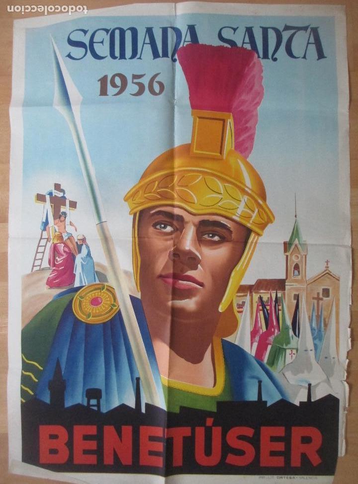 CARTEL SEMANA SANTA BENETUSER VALENCIA 1956 LITOGRAFIA ORIGINAL , SS17 (Coleccionismo - Carteles Gran Formato - Carteles Semana Santa)