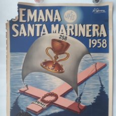 Carteles de Semana Santa: CARTEL SEMANA SANTA MARINERA, VALENCIA 1958, ILUSTRADOR CABRERA, LITOGRAFIA, ORIGINAL. Lote 143832166