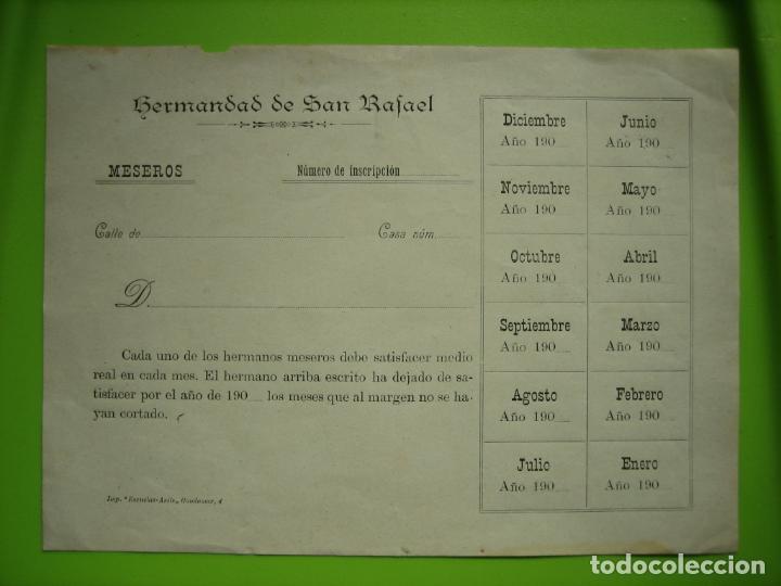 ANTIGUO IMPRESO HERMANDAD DE SAN RAFAEL. CORDOBA (Coleccionismo - Carteles Gran Formato - Carteles Semana Santa)