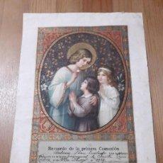 Carteles de Semana Santa: ANTIGUO PAPEL SERIGRAFIA PRIMERA COMUNION 1927. Lote 165056966