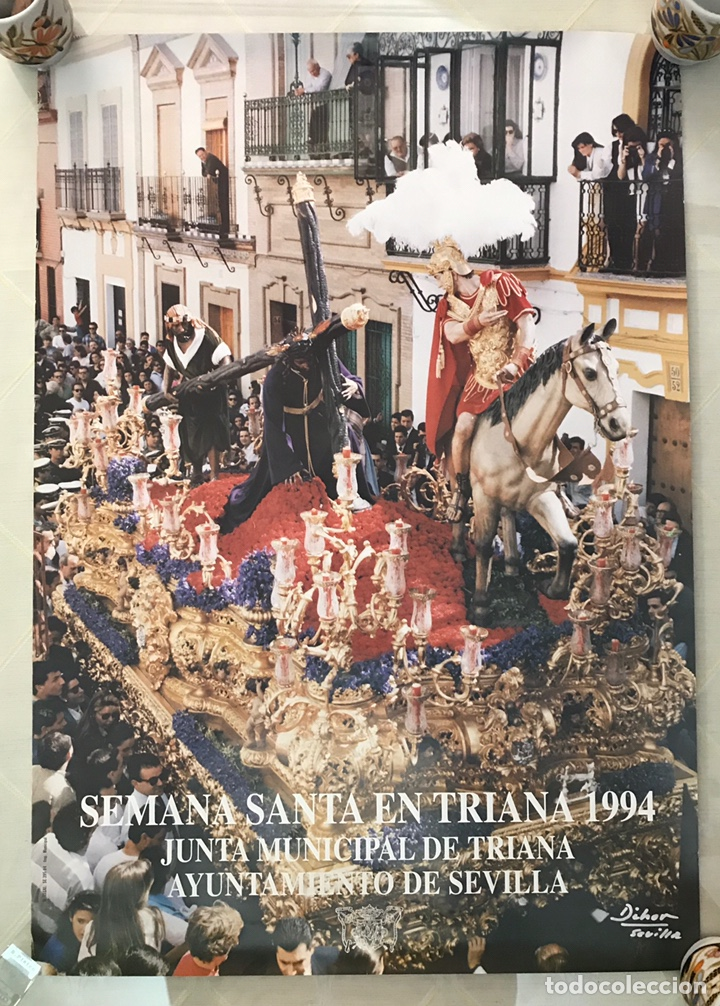 SEMANA SANTA SEVILLA. CARTEL DE TRIANA, 1994. TRES CAÍDAS, ESPERANZA DE TRIANA. (Coleccionismo - Carteles Gran Formato - Carteles Semana Santa)
