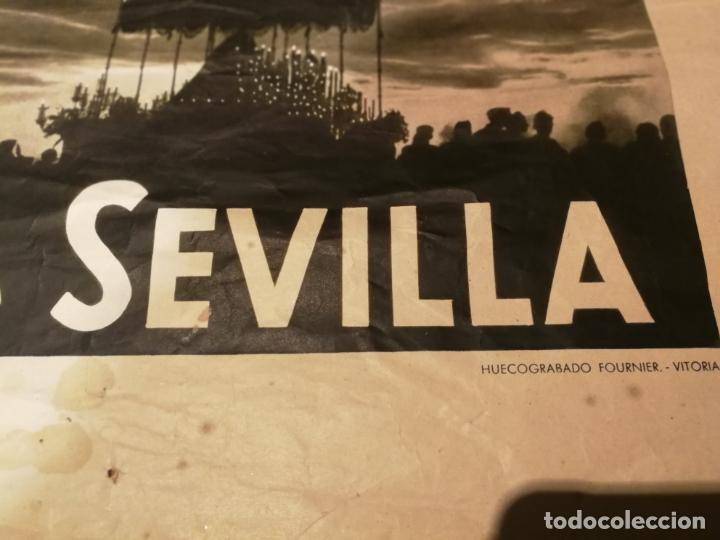 Carteles de Semana Santa: CARTEL SEMANA SANTA SEVILLA 1944 ORIGINAL FOTOGRAFO SERRANO HUECOGRABADO FOURNIER VICTORIA - Foto 2 - 172963073